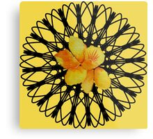 Watercolor yellow daffodil  on a digital spiral web Metal Print