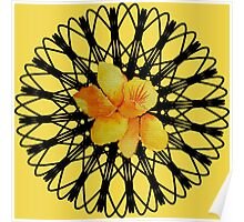Watercolor yellow daffodil  on a digital spiral web Poster