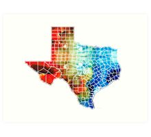 Texas Map - Counties By Sharon Cummings Art Print