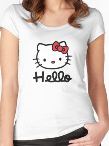 Hello little cute kitty cat Women's Fitted Scoop T-Shirt