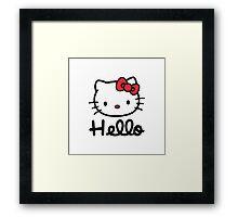 Hello little cute kitty cat Framed Print