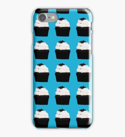 chocolate cupcakes with vanilla icing on a blue background iPhone Case/Skin
