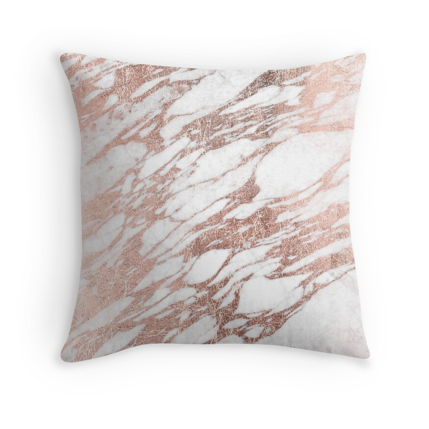 Chic elegant white and rose gold marble pattern throw pillows by blkstrawberry redbubble - Bedroom throw pillows ...