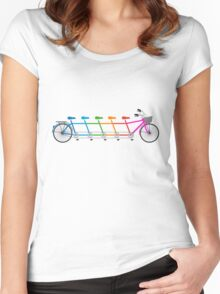colorful tandem bicycle, team bike Women's Fitted Scoop T-Shirt