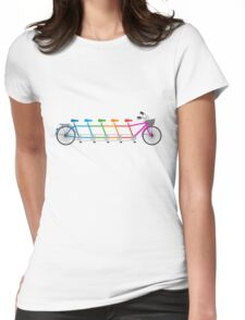 colorful tandem bicycle, team bike Womens Fitted T-Shirt
