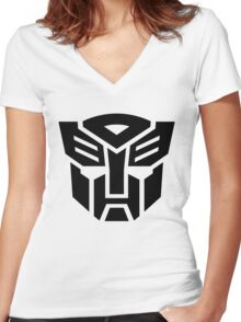 Auto (Simple Black Theme) Women's Fitted V-Neck T-Shirt