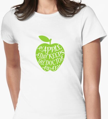 green apple with word art Womens Fitted T-Shirt