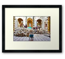 L'Aquila: collapsed church with wheelbarrow and rubble Framed Print
