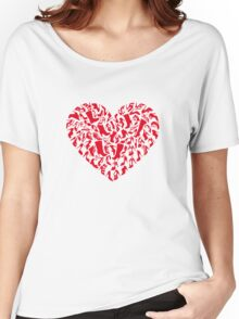 red heart with shoe silhouettes Women's Relaxed Fit T-Shirt