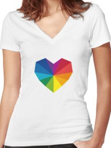 colorful geometric heart Women's Fitted V-Neck T-Shirt