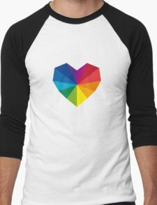 colorful geometric heart Men's Baseball ¾ T-Shirt