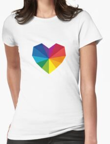colorful geometric heart Womens Fitted T-Shirt
