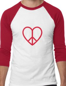 Love and peace, red heart with peace sign Men's Baseball ¾ T-Shirt