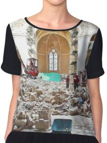 L'Aquila: collapsed church with digger wheelbarrow and rubble Chiffon Top