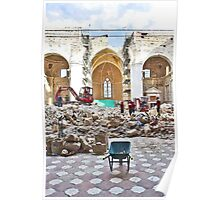 L'Aquila: collapsed church with digger wheelbarrow and rubble Poster