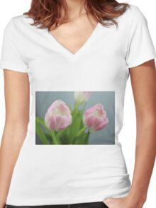 Pretty Pink Tulips Women's Fitted V-Neck T-Shirt