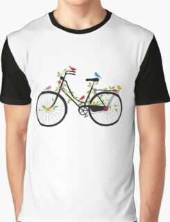 Old vintage bicycle with flowers and birds Graphic T-Shirt