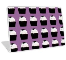 chocolate cupcakes with vanilla icing on a purple background Laptop Skin