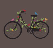Old vintage bicycle with flowers and birds One Piece - Short Sleeve
