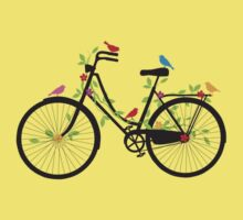 Old vintage bicycle with flowers and birds Kids Tee