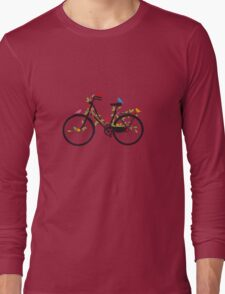 Old vintage bicycle with flowers and birds Long Sleeve T-Shirt