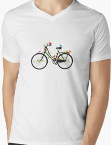 Old vintage bicycle with flowers and birds Mens V-Neck T-Shirt