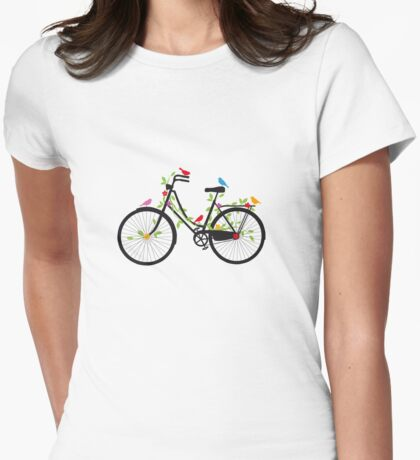 Old vintage bicycle with flowers and birds Womens Fitted T-Shirt