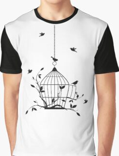 Free birds with open birdcage Graphic T-Shirt