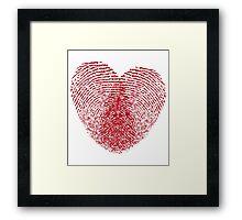 red fingerprint heart Framed Print