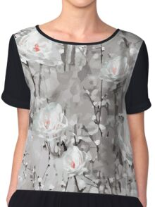The Frost - Grey Abstract Flowers Chiffon Top