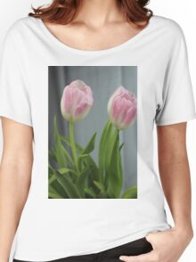 Twin Pink Tulips Women's Relaxed Fit T-Shirt