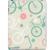 Cute pattern with retro bicycles and flowers iPad Case/Skin
