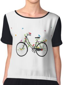 Old vintage bicycle with flowers and birds Chiffon Top