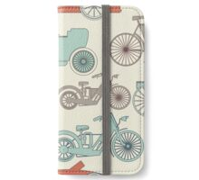 Seamless pattern with vintage cars and bikes iPhone Wallet/Case/Skin