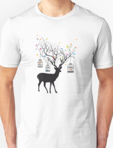Deer with birds and birdcages Unisex T-Shirt