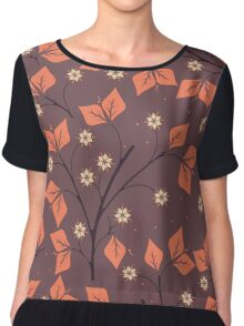 Spring seamless pattern with orange leaves and flowers Chiffon Top