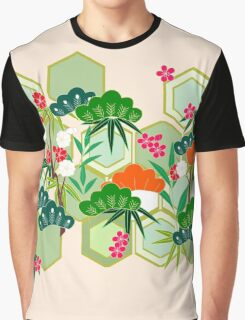 Japanese Kimono Floral Pink Graphic T-Shirt