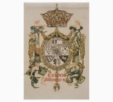 'Book Plate of Alphons XIII' by Alexandre de Riquer (Reproduction) Kids Tee