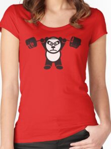 Cute Weightlifting Panda Bear (Overhead Press) Women's Fitted Scoop T-Shirt