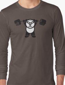 Cute Weightlifting Panda Bear (Overhead Press) Long Sleeve T-Shirt