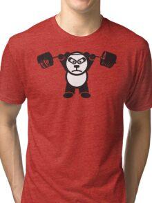 Cute Weightlifting Panda Bear (Overhead Press) Tri-blend T-Shirt