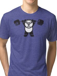 Cute Weightlifting Panda Bear (Overhead Press) Tri-blend T-Shirt