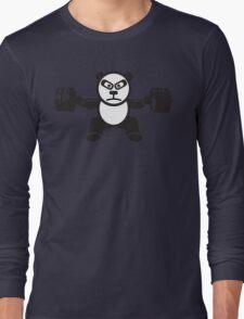 Cute Weightlifting Panda Bear (Squat) Long Sleeve T-Shirt