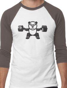 Cute Weightlifting Panda Bear (Squat) Men's Baseball ¾ T-Shirt