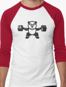 Cute Weightlifting Panda Bear (Squat) Men's Baseball ¾ T-Shirt