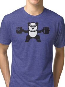 Cute Weightlifting Panda Bear (Squat) Tri-blend T-Shirt