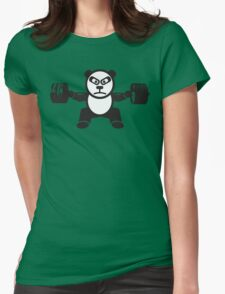 Cute Weightlifting Panda Bear (Squat) Womens Fitted T-Shirt
