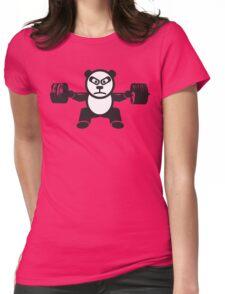 Cute Weightlifting Panda Bear (Squat) Womens Fitted T-Shirt
