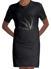 Haworthia Aloe Vera cactus succulent plant white spots Graphic T-Shirt Dress