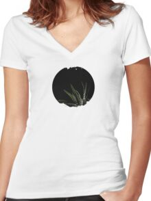 Haworthia Aloe Vera cactus succulent plant white spots Women's Fitted V-Neck T-Shirt